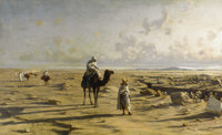 REINHOLD VON MOELLER (German 1847-1918) The Desert Cavalcade, 1881 Oil on canvas 18-1/2 x 30-1/2 inches (47 x 77.5 cm