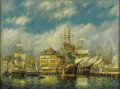 Fine Art - Painting, American:Modern  (1900 1949)  , FREDERICK LEO HUNTER (American 1858-1943). Old East IndiaDocks, 1919. Oil on canvas. 18 x 24 inches (45.7x 61 cm).Sign...