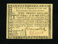 Rhode Island July 2, 1780 $20 Gem New. This is an exceptional example of this Rhode Island issue that has great signatur...