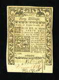 Colonial Notes:Rhode Island, Rhode Island May 1786 40s Gem New. A crisp and fresh gem that hasbold embossing, bountiful margins and excellent centering....
