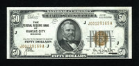 Fr. 1880-J $50 1929 Federal Reserve Bank Note. Choice Crisp Uncirculated. A lovely well embossed Kansas City FRBN that h...