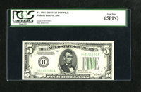 Fr. 1956-H $5 1934 Mule Federal Reserve Note. PCGS Gem New 65PPQ. This note is bright and nicely margined