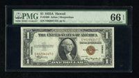 Fr. 2300 $1 1935A Hawaii Silver Certificate. PMG Gem Uncirculated 66 EPQ. Broad margins and traces of embossing are seen...
