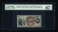 Fr. 1303 25c Fourth Issue PMG Superb Gem Uncirculated 67 EPQ. A glorious example of this type and perhaps one of the fin...