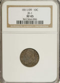 Bust Dimes: , 1811/09 10C XF45 NGC. JR-1, R.3. The only dies, and thus essentialfor a date collection of the Capped Bust series. Dappled...