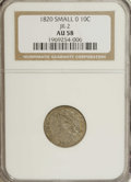 Bust Dimes: , 1820 10C Small 0 AU58 NGC. JR-2, R.3. Pleasing dove-gray andchestnut toning enriches this smooth and well defined Borderli...