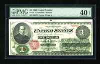 Fr. 16 $1 1862 Legal Tender PMG Extremely Fine 40 EPQ.This Ace has claims to the full XF grade, with bright white paper...