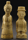 African: , Vili (Democratic Republic of Congo, Loango region). Two Figures,One Male, One Female. Ivory. Male: Height: 3 inches Width:...(Total: 2 Items)