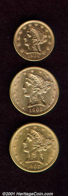 1904 $2 1/2 quarter eagle MS 60 Polished; 1902 half eagle AU 58, lustrous and very close to Mint State; and a 1907 half...