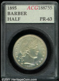 1895 50C Half Dollar PR 63 Accugrade. Well defined with a light milky haze and a dense patch of hairlines over the lower...