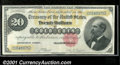Large Size Gold Certificates:Large Size, 1882 $20 Gold Certificate, Fr-1178, VF+. An attractive example ...