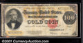Large Size Gold Certificates:Large Size, 1922 $100 Gold Certificate, Fr-1215, Good-VG. Although the over...