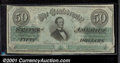 Confederate Notes:1862 Issues, 1862 $50 Black with green overprint; Jefferson Davis, T-50, VF....