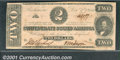 Confederate Notes:1862 Issues, 1862 $2 Judah P. Benjamin, T-54, VF-XF. This note recently surf...