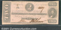 Confederate Notes:1862 Issues, 1862 $2 Judah P. Benjamin, T-54, AU. This note recently surface...