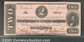 Confederate Notes:1862 Issues, 1862 $2 Judah P. Benjamin, T-54, Choice AU. This note recently ...