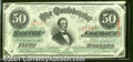 Confederate Notes:1863 Issues, 1863 $50 Black with green overprint; Jefferson Davis, T-57, AU....