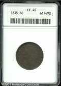 """1835 1/2 C XF 40 Brown ANACS. Mintage: 398,000. The latest Coin World """"Trends"""" price is $70.00. The current Co..."""