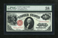 Fr. 37 $1 1917 Legal Tender PMG Choice About Unc 58. A pleasing piece with a bright red overprint