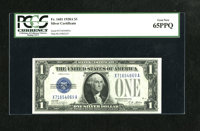 Fr. 1601 $1 1928A Silver Certificate. PCGS Gem New 65PPQ. This X-A block is perfectly embossed and bright white