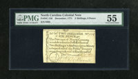 North Carolina December, 1771 2s/6d PMG About Uncirculated 55. This attractive and lightly circulated issue is printed o...