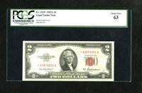 Fr. 1510* $2 1953A Legal Tender Note. PCGS Choice New 63. A touch of handling precludes a full Gem grade