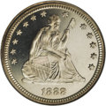Proof Seated Quarters: , 1888 25C PR66 Cameo NGC. Frosted design features and deeplymirrored fields combine to generate stunning contrast on this e...