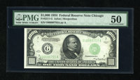 Fr. 2211-G $1000 1934 Federal Reserve Note. PMG About Uncirculated 50. A light teller smudge is seen on this Chicago &qu...