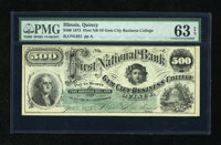 Quincy, IL- Gem City Business College $500 Jan. 1, 1873 Not a hint of handling on this unlisted denomination for this sc...