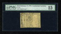 Continental Currency February 17, 1776 $1/2 PMG Choice Fine 15. Here is a nice mid-grade note that was once mounted and...
