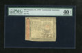 Colonial Notes:Continental Congress Issues, Continental Currency January 14, 1779 $65 PMG Extremely Fine 40EPQ. Some faint folds are noted and account for the grade, t...