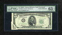 Fr. 1962-D $5 1950A Federal Reserve Note. PMG Choice Uncirculated 63 EPQ. A nifty gutter on this early $5 Green Seal aff...