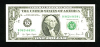 Fr. 1910-B $1 1977A Federal Reserve Note. Very Choice Crisp Uncirculated. A portion of the green overprint is missing on...