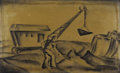 Texas:Early Texas Art - Drawings & Prints, COREEN MARY SPELLMAN (1905-1978). Untitled Dragline, early 1930s.Litho crayon. 9 3/4in. x 15 3/4in.. Unsigned. In this dr...