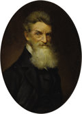 Military & Patriotic:Civil War, An Oil Portrait of John Brown, Abolitionist and Raider on Harper's Ferry John Brown was born in Connecticut in 1800, the so...