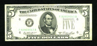 Fr. 1962-F $5 1950A Federal Reserve Note. Fine-Very Fine. An obstruction caused the district seal to not print up on thi...