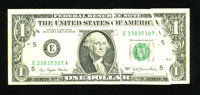 Fr. 1909-E $1 1977 Federal Reserve Note. Fine-Very Fine. Multiple gutters affect all three print processes on this Richm...