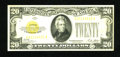 Small Size:Gold Certificates, Fr. 2402 $20 1928 Gold Certificate. Extremely Fine.. Bright overprints are noticed on this tri-folded piece....
