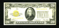 Fr. 2402 $20 1928 Gold Certificate. Extremely Fine. Bright overprints are noticed on this tri-folded piece