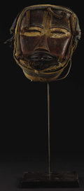 African: , Dan (We) (Liberia/Côte d'Ivoire). Face Mask. Wood, pigment, fiber,cloth, metal, nails, string. Height: 10 inches Width: 7 ...