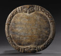 African: , Yoruba (Nigeria). Tray for Ifa Divination, Opon Ifa. Wood.Height: 12 inches Width: 12 ½ inches. A circular tray simi...