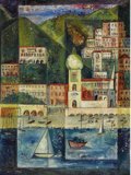 Fine Art - Painting, American:Contemporary   (1950 to present)  , HELEN FARR SLOAN (American 1911-2005). Cityscape. Oil oncanvasboard. 24 x 17-3/4 inches (61 x 45.1 cm). Signed lower ri...