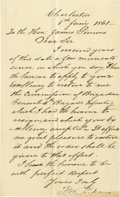 """Autographs:Military Figures, Francis W. Pickens Autograph Letter Signed """"F. W. Pickens"""". One page, 4.5"""" x 7.25"""" plain paper, Charleston, January 8, 1..."""