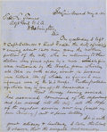 """Autographs:Military Figures, U.S. General Nathaniel Lyon War Date Autograph Letter Signed """"N. Lyon"""" and written as a captain three months before he w..."""
