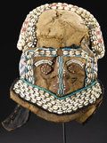 African: , Kuba (Democratic Republic of Congo). Mask (Mwaash a mboy mu shall). Leather, wood, beads, fiber, cowry shells, raffia cl...