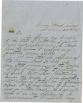 "Autographs:Military Figures, C.S.A. General John Bell Hood Autograph Letter Signed ""John B.Hood"". 1½ pages, 7.75"" x 9.75"" plain blue paper, Camp Woo..."