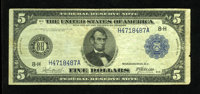 Fr. 872 $5 1914 Federal Reserve Note Fine. Fewer than fifty examples of this scarce signature combination are known to c...