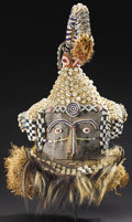 African: , Kuba (Democratic Republic of Congo). Mask (Mukyeem or Mukenga). Sheet metal, wood, raffia cloth, European cloth, bea...