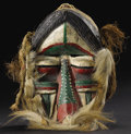 African: , Dan (We) (Liberia). Face Mask. Wood, hide with hair, fiber,European paint, nails, cloth. Height: 12 inches Width: 8 ¾ inch...