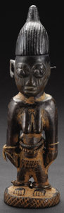 African: , Yoruba (Nigeria), Oshogbo region. Female Twin Figure, ere ibeji. Wood, camwood powder, indigo, beads, metal, fiber. Heig...